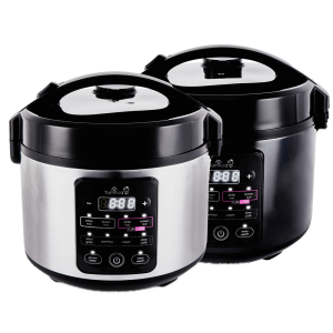 Kumo rice cookers in dark and light stainless steel