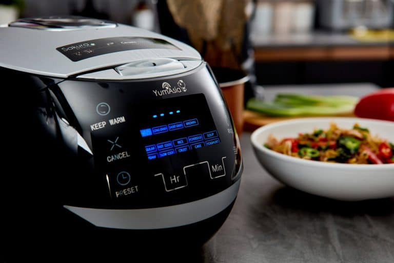 Close up of Sakura rice cooker in black colour showing the display