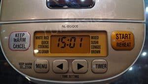 Zojirushi BGQ05 rice cooker close up of display